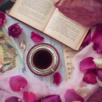 Book, Coffee, Tea, Sheet Music, Postcard, Paper, Petals