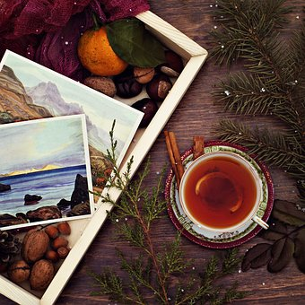 Drink, Spruce, Needles, Tea, Wood, Tray, Postcard, Hot
