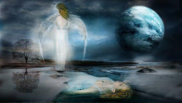 Water, Nature, Woman, Drown, Angel, Wings, Moon, Sky