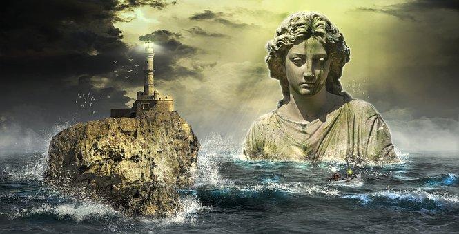 People, Water, Statue, Woman, Stone, Rocks, Sea, Waves