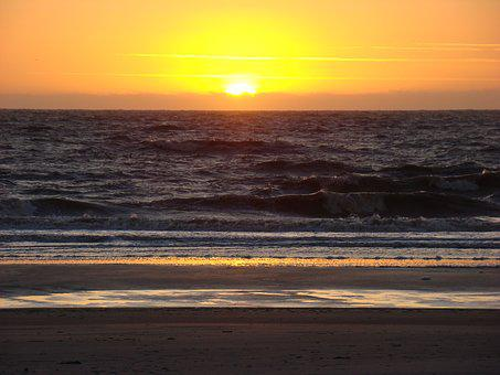 Sunrise, Water, Sea, Dusk, Ocean, Dawn, Beach, Wave