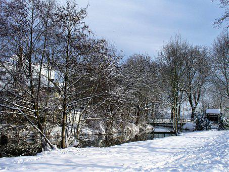 France, Strasbourg, Channel, Winter, Snow, Frost, Cold