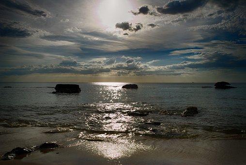 Waters, Sunset, Sea, Dusk, Beach