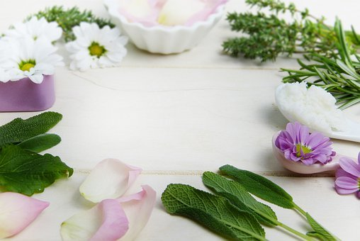 Herbs, Thyme, Sage, Rose, Flowers, Petals, Pink