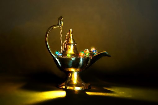 Still Life, Shiny, Brass, Light, Lamp, Magic Lamp