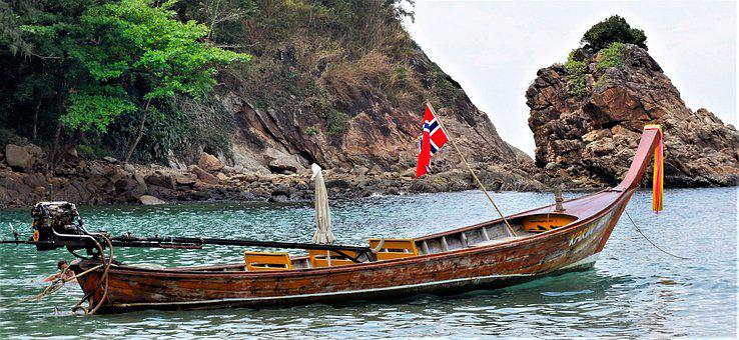Boat, Tourist, Long Tail, Pleasure, Norwegian, Flag