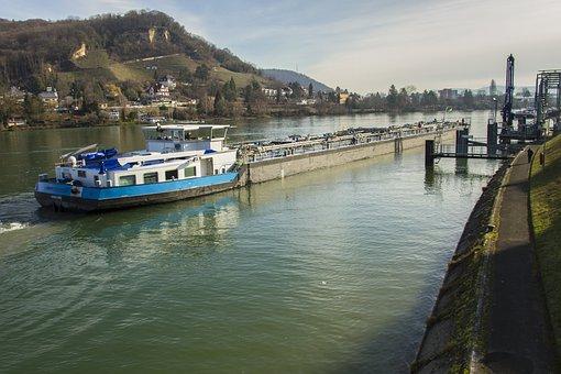 Motor Tanker, Frachtschiff, Create, Moored, Rhine