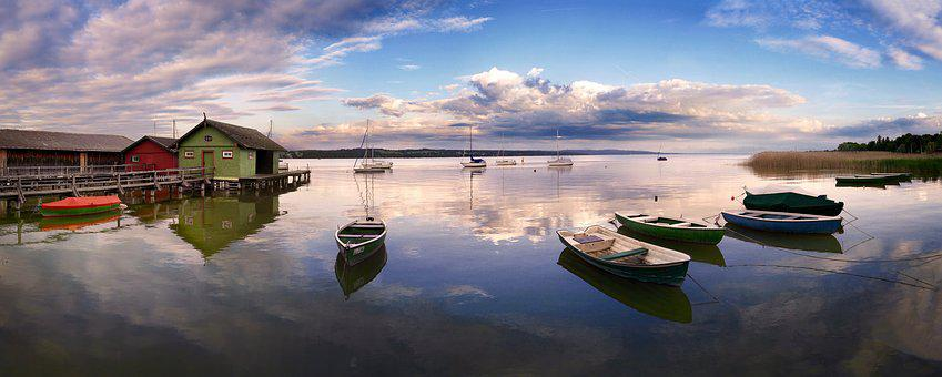 Waters, Nature, Lake, Panorama, Reflection, Ammersee