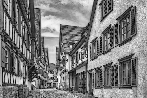 Schiltach, Black Forest, Black And White, Comic Effect