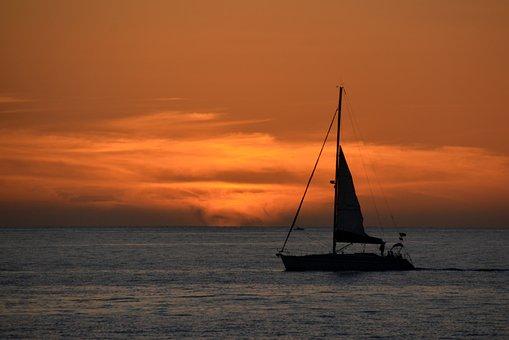 Sunset, Sea, Ocean, Sailing Boat, Ship, Boot, Sail
