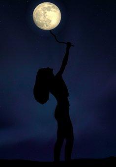 Girl, Full Moon, Balloon, Play, Shadows, Night