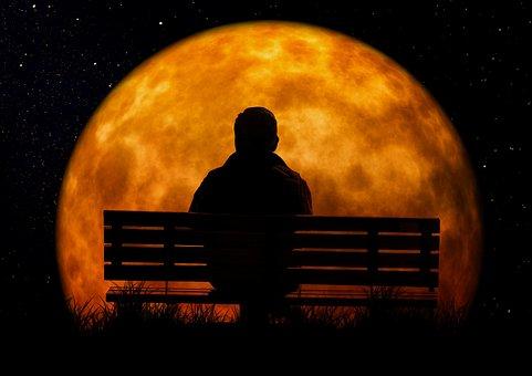 Moon, Age, Man, Person, Bank, Sit, Viewing, Old Man