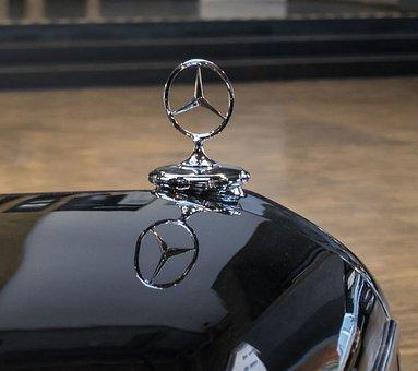 Mercedes Star, Mercedes, Star, Mirroring, Oldtimer