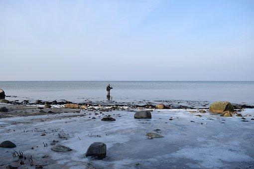 Sea, Waters, Coast, Beach, Angler, Ice, Cold