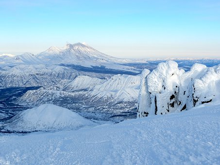 Snow, Winter, Frost, Mountains, Volcano, Rocks, Coldly