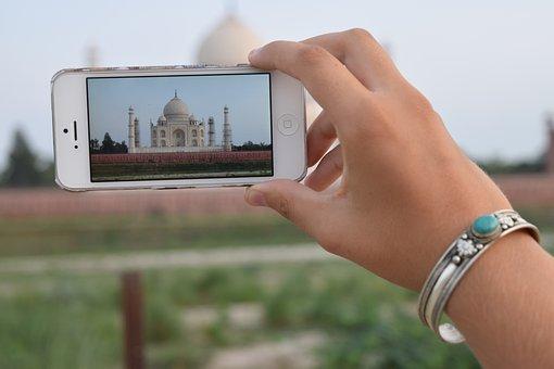 Hand, Iphone, Taj Mahal, Phone, Picture, India, Agra