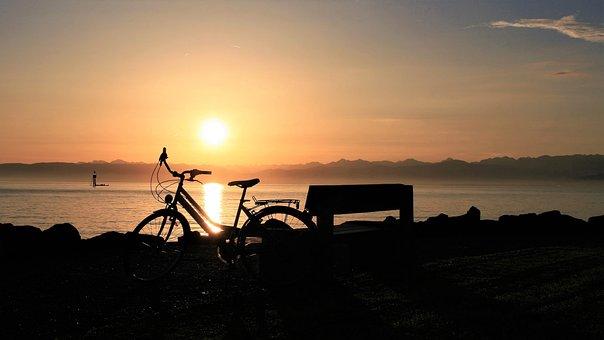 Lake, Morning, Sunrise, Bike, Water, Relaxation, Beach
