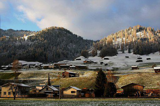 Mountain, Alpine Village, Sky, Nature, Gray, Houses