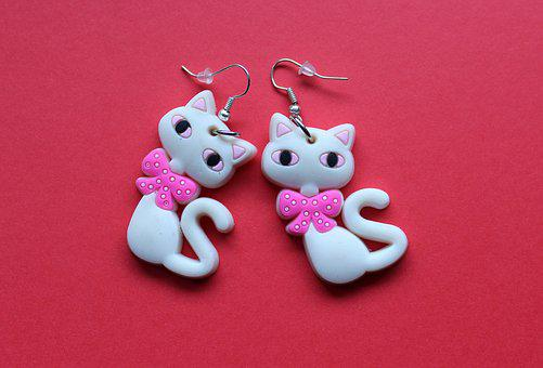 Earrings, Ornament, Children, Cats, Decoration, Jewelry