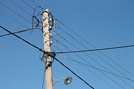 Strommast, Telegraph Pole, Lines, Street Lamp