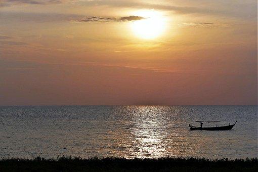 Sunset, Sea, Boot, Dusk, Thailand, Afterglow