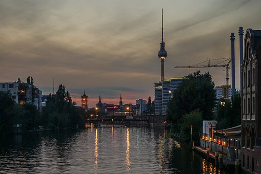 City, River, Waters, Urban Landscape, Panorama, Sunset