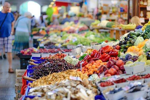 The Market, Fresh, Groceries, Food, People, Vegetables