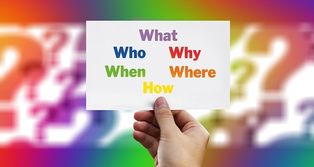 Questions, Font, Who, What, How, Why, Where, Hand, Keep