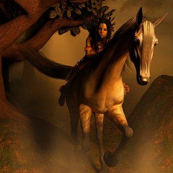 Horse, Org, Landscape, Fog, Light, Fantasy, Horse Head