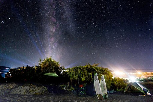 Night, Sky, Stars, Landscape, Beach