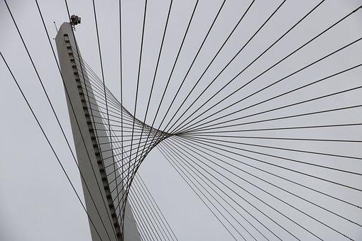 Israel, Jerusalem, Rope, Bridge, Light Rail, Train