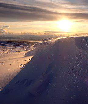 Sunset, Winter Evening, Snow, Snowdrifts, Shadow