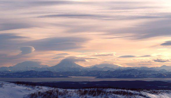 The Bay Avachinskaya, Kamchatka, Winter, Sunset