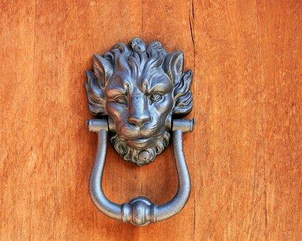 The Door, Door Handle, Old, Sculpture, Lion, Rudy