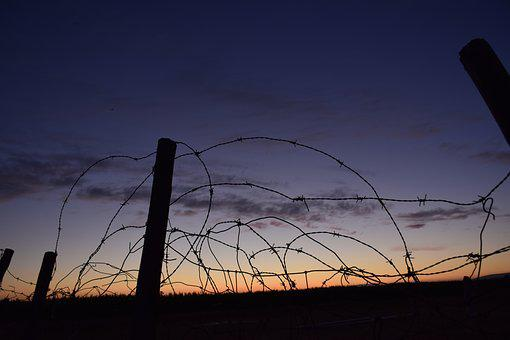 Barbed Wire, Wire, About, Sky, Horizontal, Sunset