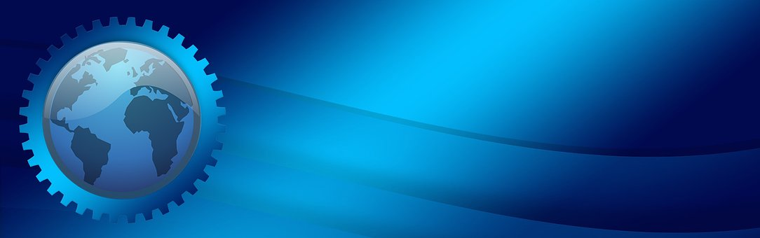 Blue, Gear, Globe, Gradient, Effect, Header, Ad