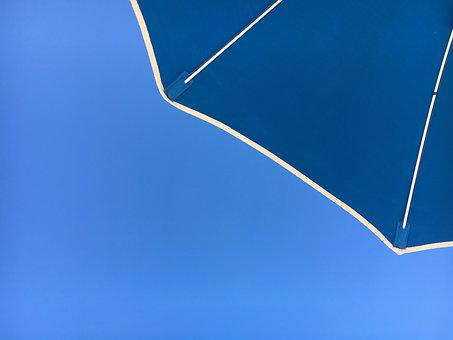 Beach, Umbrella, Blue, Sky, Travel, Ocean, Sun, Holiday