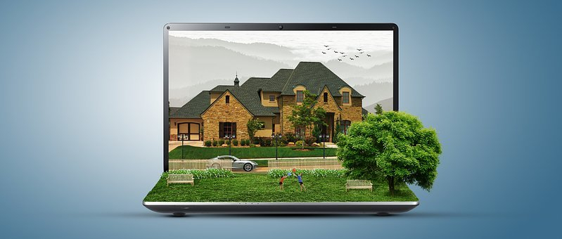 House, Tree, Laptop, Kids, Manipulation