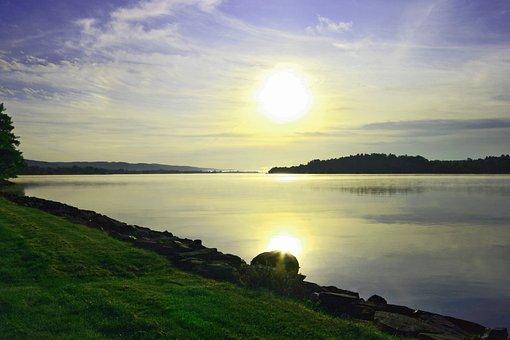 Nature, Sunset, Sun, Dawn, Waters, Landscape, Sky, Lake