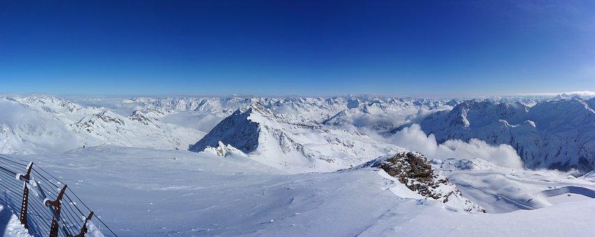 Snow, Winter, Panoramic Photo, Coldly, Mountain, Sölden