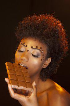 Face, Women, Young, Brunette, Chocolate, Sweet, Craving