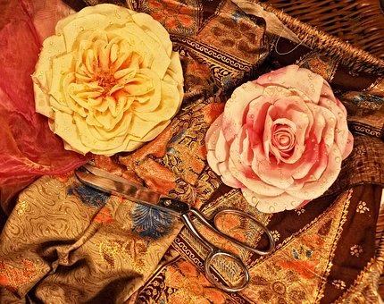 Roses, Paper Roses, Flowers, Scissors, Tool, Fabric