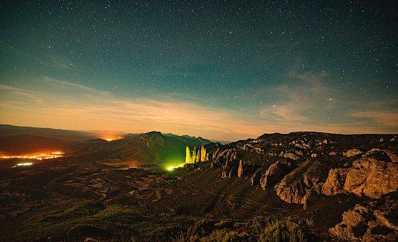 Panoramic, Landscape, Sky, Sunset, Moon, Nature