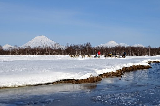River, Beach, Dog Sled, Volcano, Landscape, Competition