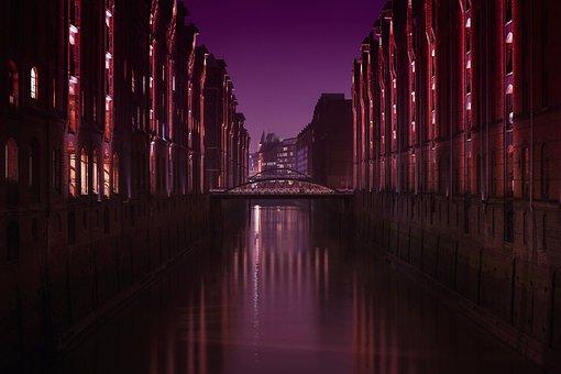 Architecture, Reflection, Illuminated, Darkness, Light