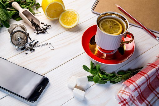 Tea, Grass, Sheet, Cup, Background, Tableware, Hot