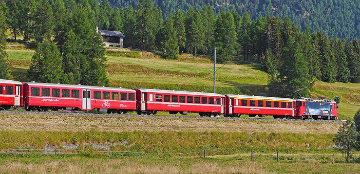 Rhaetian Railways, Engadin, Summer Morning, Switzerland