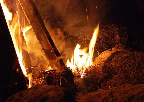 Fire, An Outbreak Of, The Flame, Glow, Heat, Wood, Burn
