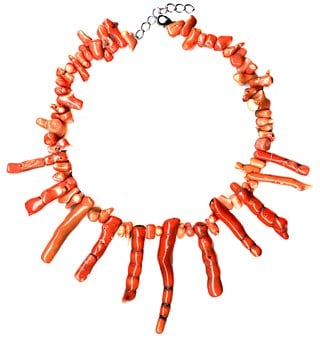 Coral, Fossil, Necklace, Choker, Orange, Genuine