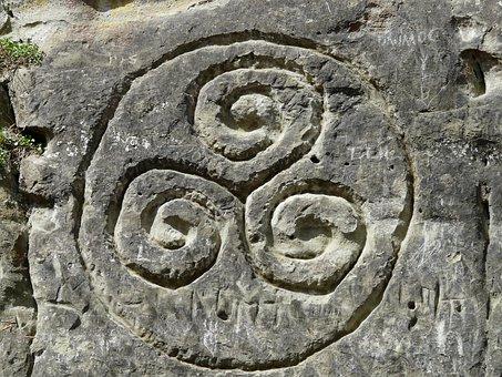 Triskelion, Steinzeichnung, Rock, Stone, Relief